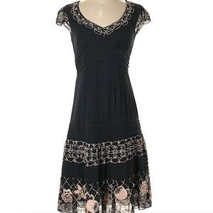 Nanette Lepore Navy Silk Embroidered Dress Size 2